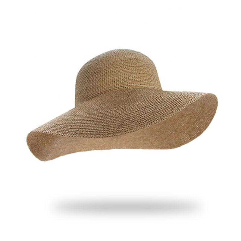 e41b6a988bef50 Wholesale custom lady raffia paper boater floppy straw hat panama summer  beach sun hats for women