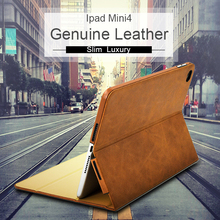 Luxury Chinese Goods Italian Oil Waxy Top Layer Leather Cover Brown Ladies Style Tablet Leather Case for Ipad Mini4