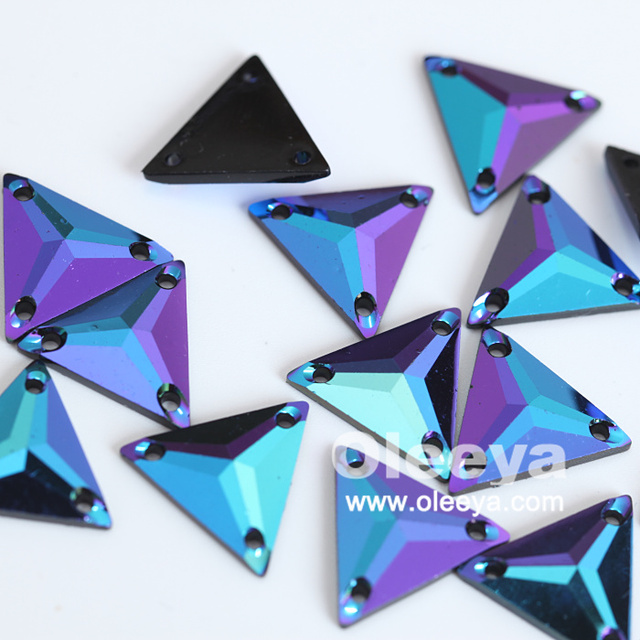 16 years factory supply sew on stone triangle shaped 17 kinds of AB color rhinestone sew on for clothes