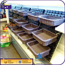 100% Handmade Fruit Basket Wicker Rattan For Supermarket Display