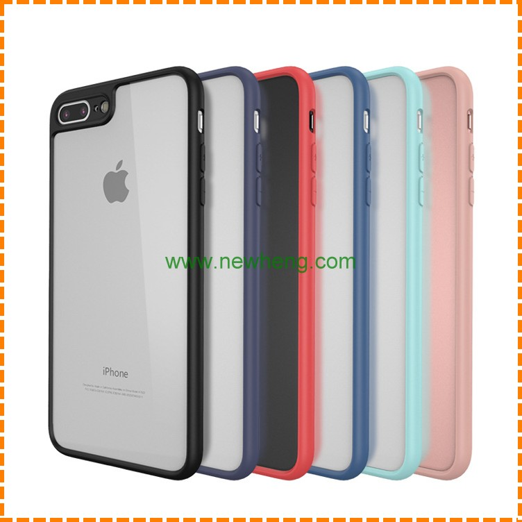 Candy Color TPU Frame Bumper Acrylic Crystal Clear Case For iPhone 7 plus