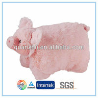 Stuffed pig car seat back support cushion