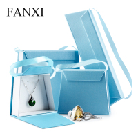 FANXI Custom Wholesale Folding Magnet Lid Ring Necklace Box Jewellery Packing Boxes Jewelry Packaging Paper Gift Box