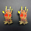 Custom hand shaped brooches Metal Badge holder Lapel pins