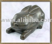 Hand Made Thai Solid Bronze Sculpture Rabbit Inkstone Art Deco