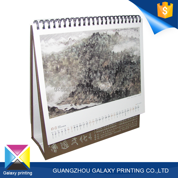 Elgant and high qualitycustom 2016 wholesale printing spiral-bound desktop calendar