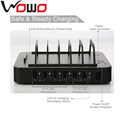 6-port Multi USB desktop smart rapid power charging station organizer simultaneously charges phones , tablets and wearable devic