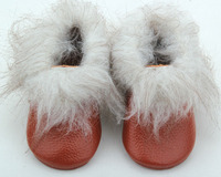 baby sweat genuine leather soft sole fur boots booties shoes