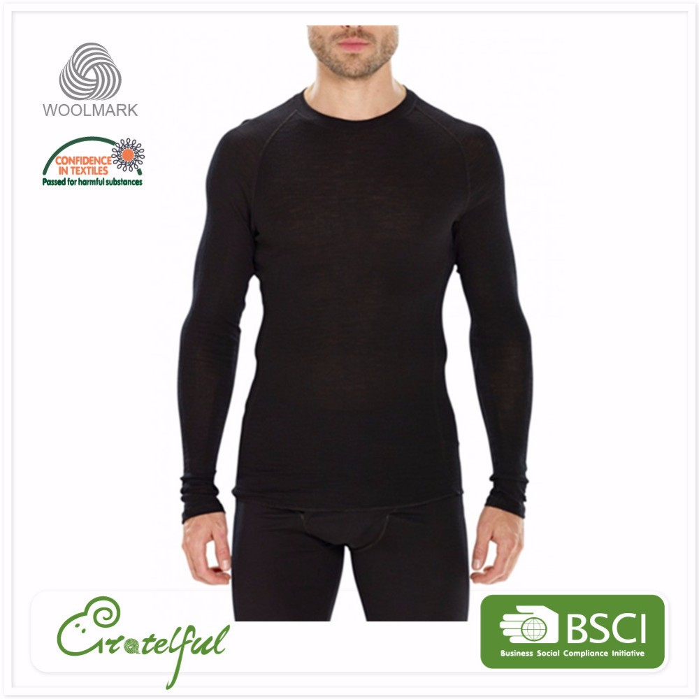 thermal wholesale round collar long sleeve merino wool man long john