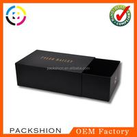 Black cardboard custom sliding shoe box packaging from dongguan