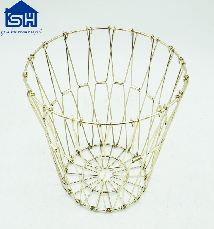European Copper gold plate seven-fold Iron wire fruit basket