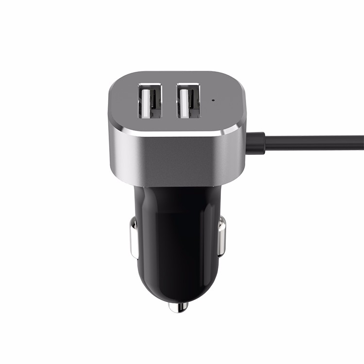 qc 3.0 4 port usb car charger with extended cable 57W