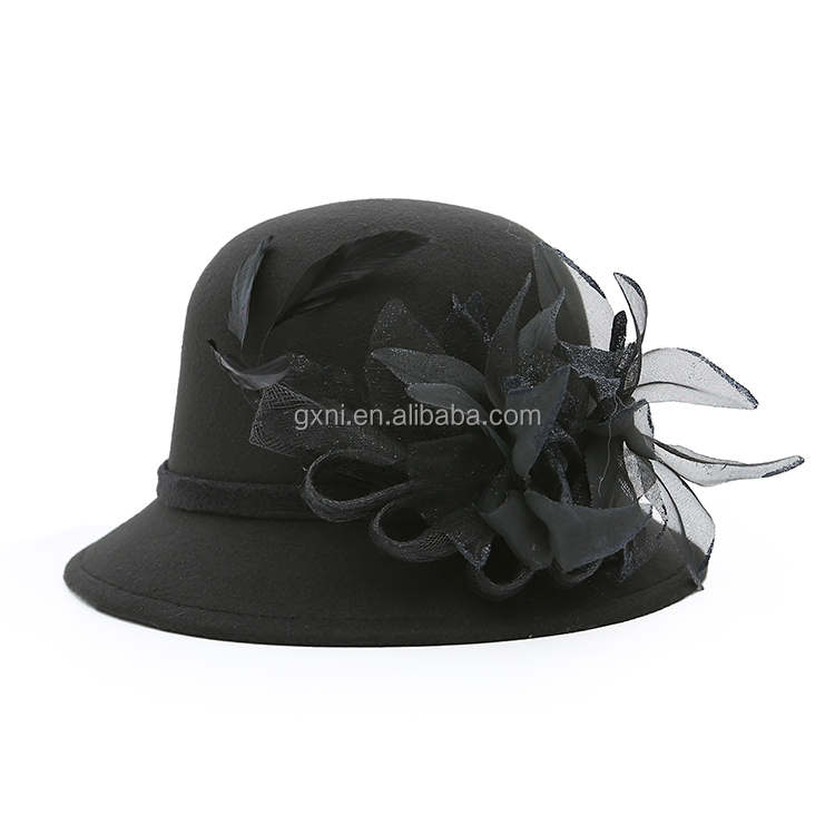 Popular England Ladies Wool women homburg caps With Feather hats for Party hats