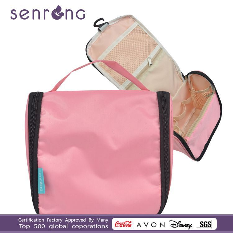 420d pink nylon Hanging Travel Toiletry Folding Makeup Case Wash Cosmetic bag for young women