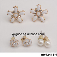 fashion jewelry best gift party occasion metal flower shape with glass earring findings