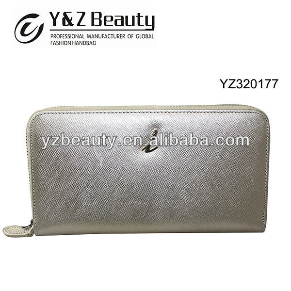 2014 Best Selling Cross Pattern Leather Modern Women Silver Purse Clutch Wallet