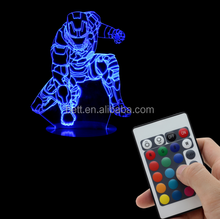 3D optical illusion night light 7 colors changable with touch sensor USB or battery powered table 3D lamp
