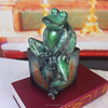 customized study decor resin green frog cute modern bookends