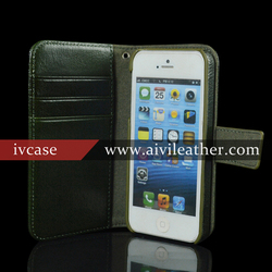 luxury high quality leather cell phone case for iPhone 5 / 5s wallet case with magnetic buckle