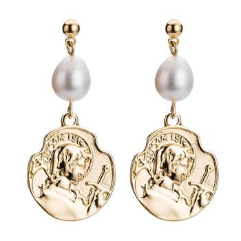 Fashion Retro Chic Queen Statue Coin Dangle Earrings White Pearl Gold Plated Alloy Coin Pendant Earrings For Women