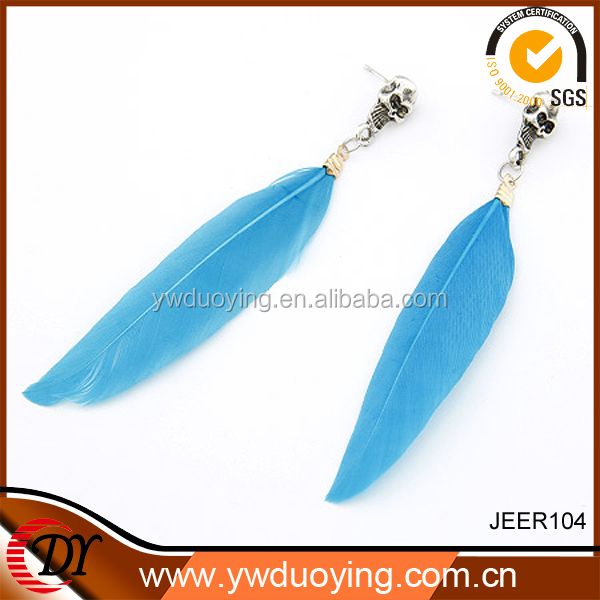 Wholesale Fashion Jewelry Korean Style Unique Skull Design Feather Earring