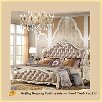 French style bedroom furniture classical wooden carved bedroom set