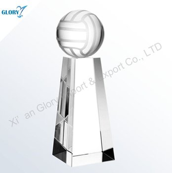 Wholesale Glass Volleyball Crystal Trophy And Award For Sport
