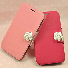 diamond flower wallet card slot geunine leather case for S3 i9300