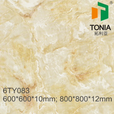Polished glazed rustic yellow marble tiles new model flooring tiles 80x80