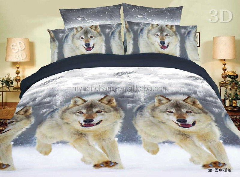 polyester wolf printed animal design bedding set 3d made in china