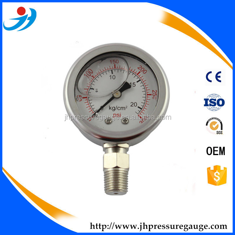 "1.5""(40mm )All stainless steel bottom connection glycerin filled manometer/pressure gauge"