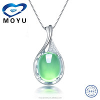 China jewelry wholesale chrysoprase pendant in 925 silver factory price
