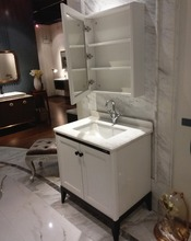 White Bathroom Cabinet Vanity with side cabinet