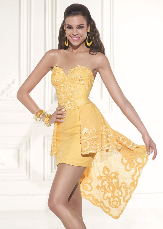 2015 sexy sweetheart yellow cocktail dresses with skirt sheath open back short party dresses vestidos de festa curto CPCD11