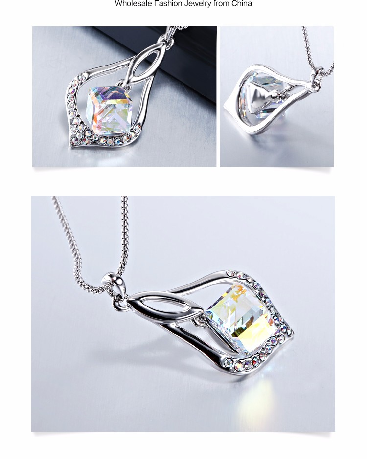 2017 New Arrival Fashion Pendant Jewelry Zinc Alloy Rhodium Plated Custom Design Colorful Crystal Rhinestone Necklace