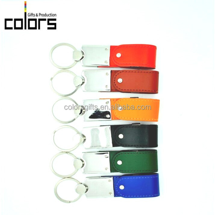 Leather Rotatary Swival Keychain USB Flash Drive Promotiona Business Cosmetic High Quality Cool Gift