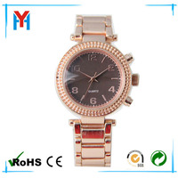 simple round face lady watch double diamond circle case watch