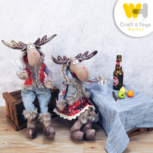 new design wholesale handmade reindeer decorations for christmas with hat