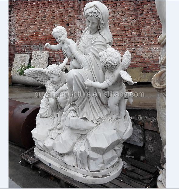 Madonna and kid boy nude angel statues Virgin Mary statue