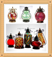 Handmade Colorful crabapple glass moroccan Hurricane Mosaic Glass Lanterns Candle Lanterns