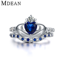 MDEAN Crown Sapphire 925 Sterling Silver