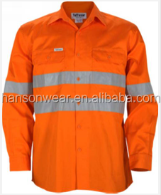 Wholesale Men's 100% Cotton L/S HI VIS Coolwear Vent Work <strong>Shirt</strong> with Tape 150gram UPF50+