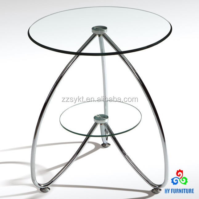Unique round glass side tables small end table with metal base