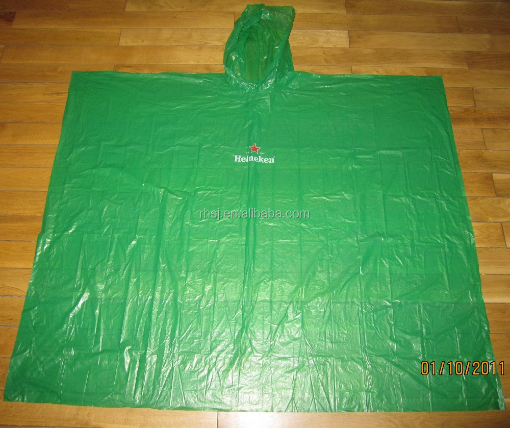 PE material emergency disposable wit hood rain ponchos