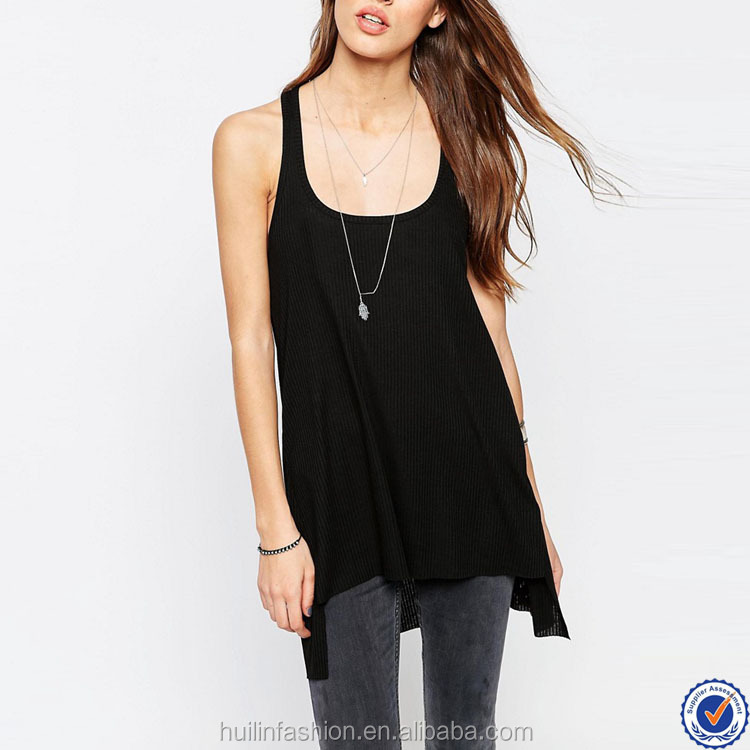 fabric polyester viscose custom womens vest top scoop neck step hemline ladies long tank tops
