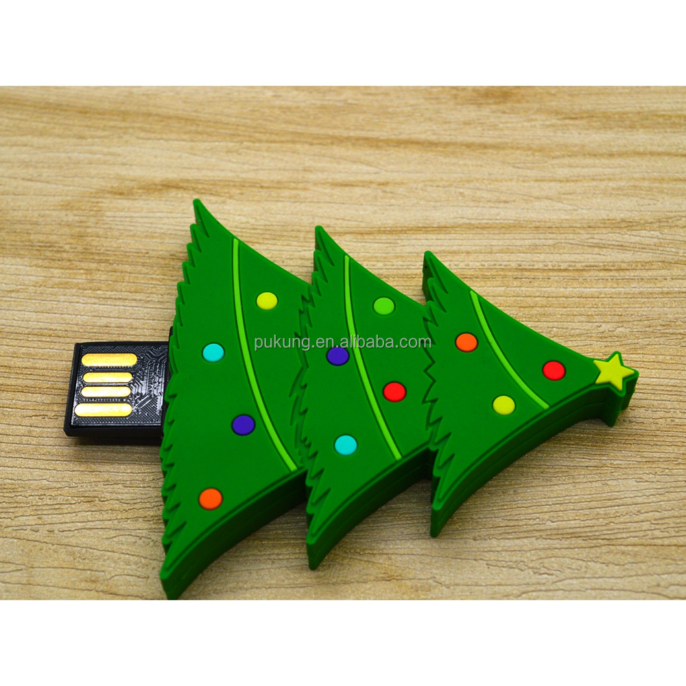 NEW Promotional Gift PVC Christmas Tree USB 2.0 Flash Pen Drive Memory Stick 2GB 4GB 8GB 16GB 32GB