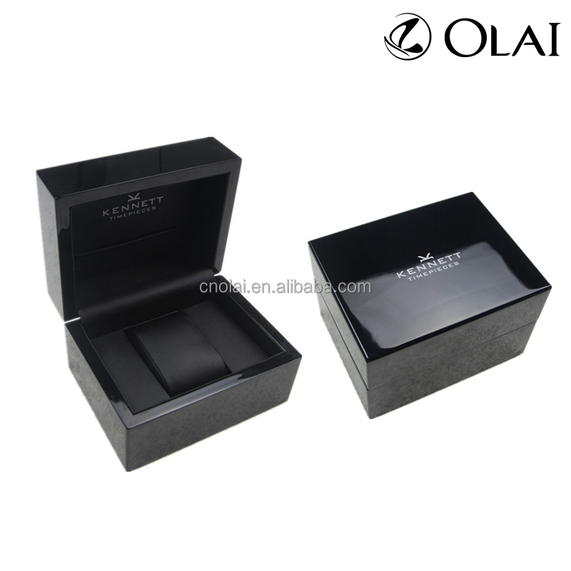 Wholesle black wood watch box, black glossy lacquer watch packing box from factory MB-001
