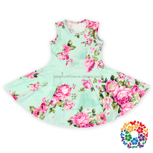 Sweet Mint Child Flower Fashion Kids Party Wear Girl Dress Birthday dress 1 year old girl