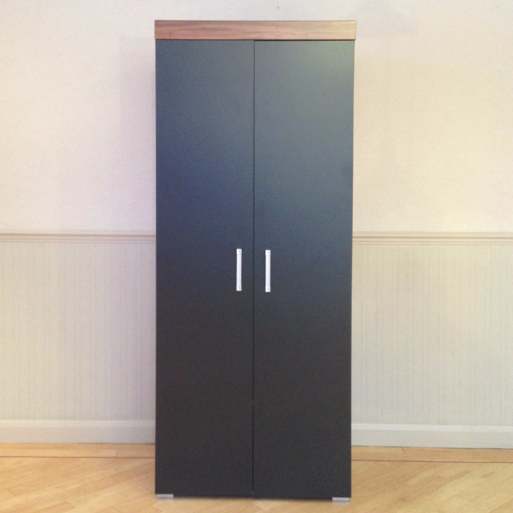 2 Door Double Wardrobe in Black & Walnut Bedroom Furniture