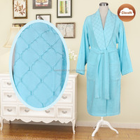 100 cotton bathrobes for women with embroidering blue